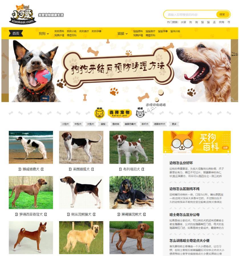 帝国CMS7.5内核仿小可爱宠物网宠物资讯平台网站源码带手机版