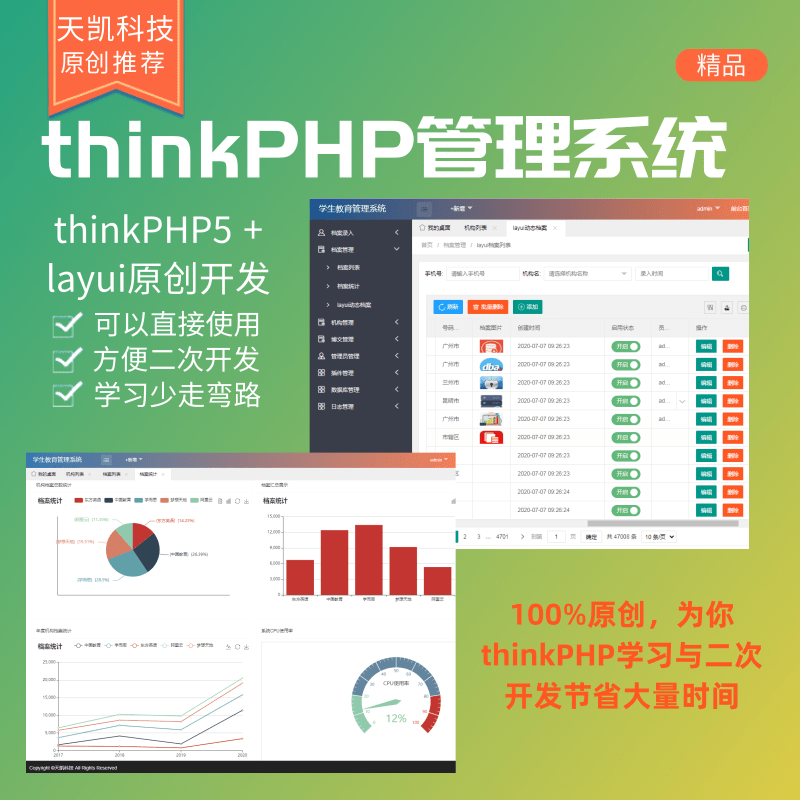 thinkPHP5+Layui通用后台系统模板源码|可定制二次开发|免费更新