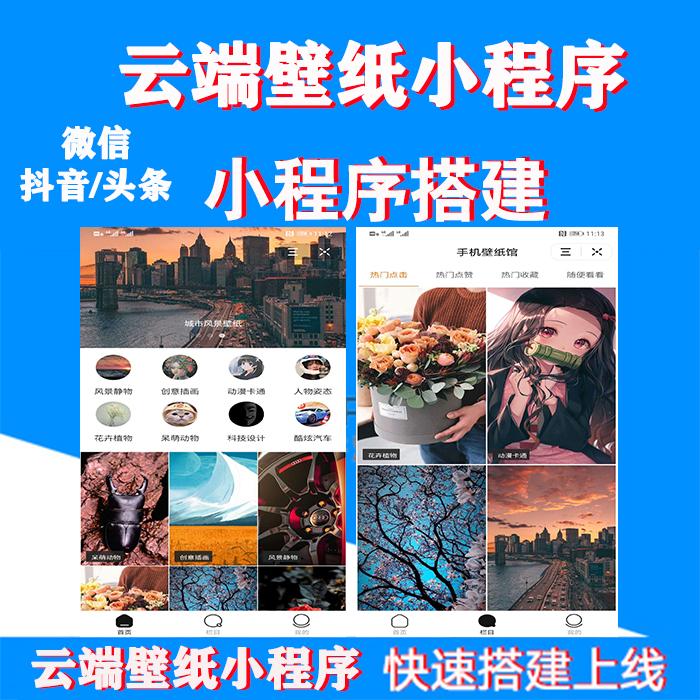 抖音微信看广告下载图片壁纸小程序源码搭建开发